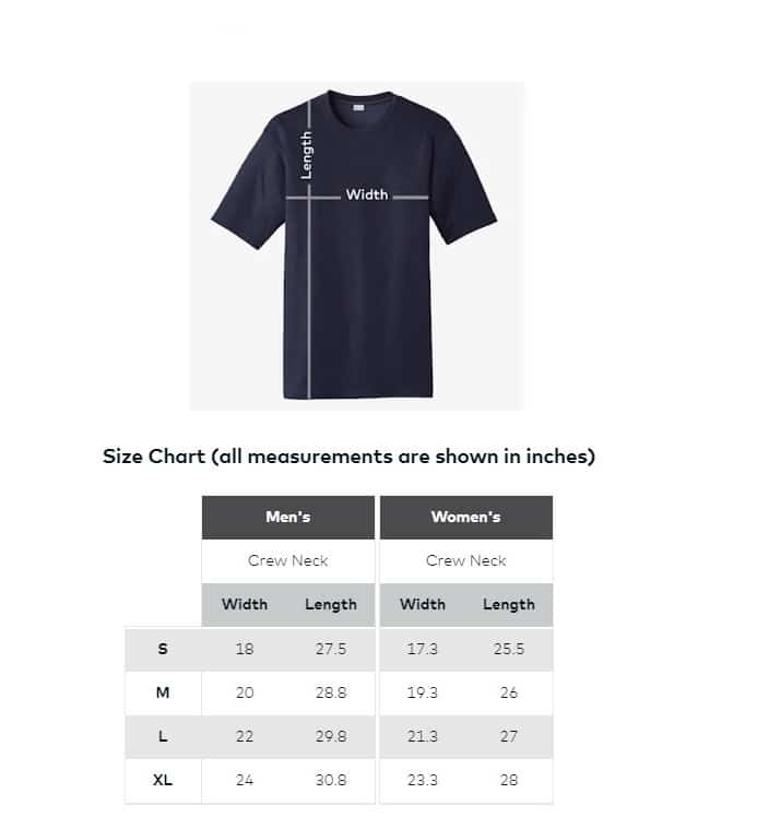 T-Shirt chart measurements